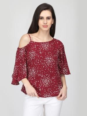 Eavan Casual Flared Sleeve Printed Women Maroon Top