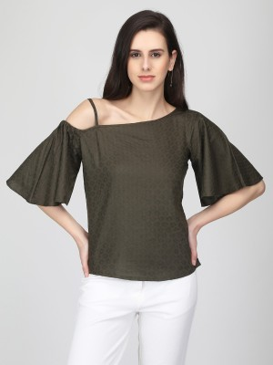 Eavan Casual Bell Sleeve Self Design Women Dark Green Top