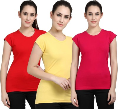 Fasha Casual Cap Sleeve Solid Women Red, Yellow, Pink Top
