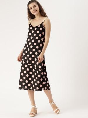 Dressberry Women Drop Waist Black, Pink Dress