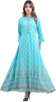 AWESOME WEAR Women Solid Anarkali Kurta(Blue)
