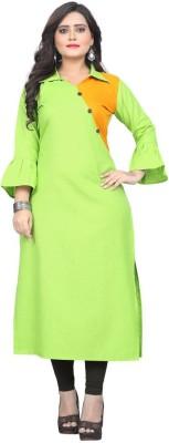 Textile Fab Festive & Party Self Design Women Kurti(Light Green)
