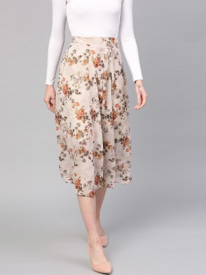 Sassafras Floral Print Women A line Brown, Orange Skirt