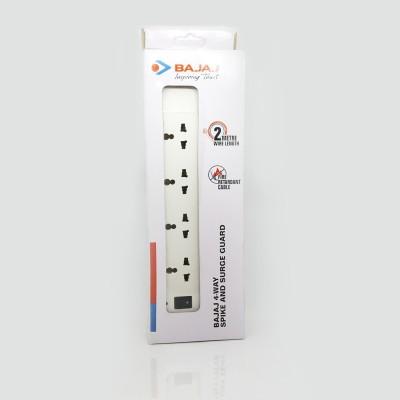Bajaj 4 Way Spikeguard 4 Socket Extension Boards White