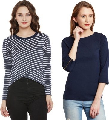 Miss Chase Casual Full Sleeve Striped Women Multicolor Top