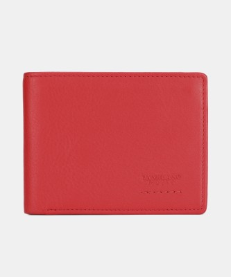 Da Milano Men Casual Red Genuine Leather Wallet(7 Card Slots)