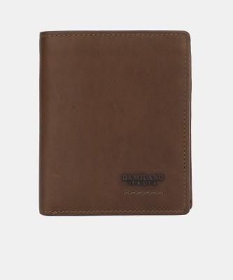 Da Milano Men Casual Brown Genuine Leather Wallet(8 Card Slots)