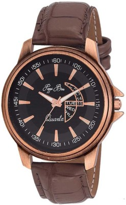 Pappi Boss Latest Trendy Sober Brown Leather Analog Watch   For Boys Pappi Boss Wrist Watches