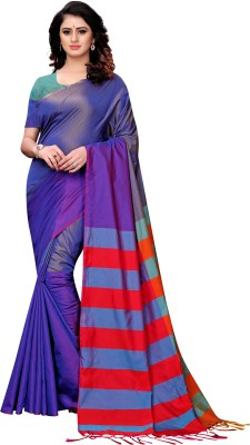 SNH Export Striped, Embroidered, Solid Fashion Poly Silk, Silk Blend, Cotton Silk Saree(Multicolor)