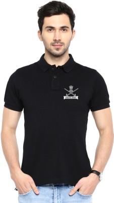Printed Men Polo Neck Black T Shirt