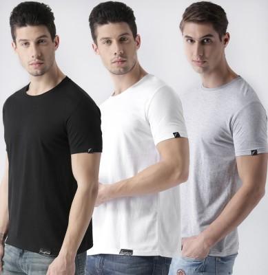 Young Trendz Solid Men Round Neck Black, White, Grey T-Shirt