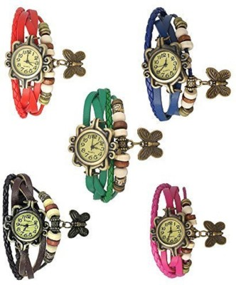KIARVI GALLERY Dream Analogue Pink-Green-Blue-Red- Brown 5 Combo Vintage Dori Wrist Watch For Girl Analog Watch  - For Girls
