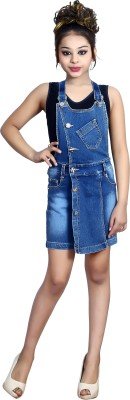 Sunday Casual Dungaree For Girls Casual Solid Cotton Lycra Blend Blue, Pack of 1
