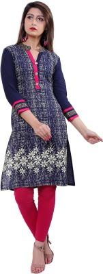 Gujari Women Printed Straight Kurta(Blue)