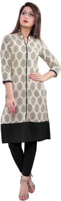 Gujari Women Printed Straight Kurta(Black)