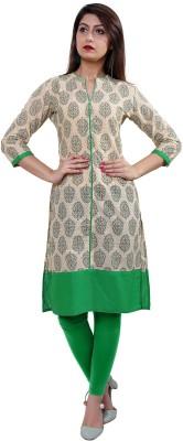 Gujari Women Printed Straight Kurta(Green)
