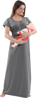 Fabme Women Maternity/Nursing Nighty(Grey)