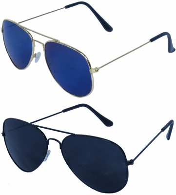 ALEYBEE Aviator Sunglasses(Black, Blue)