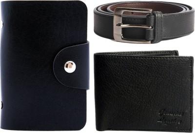Good Life Stuff Wallet, Card Holder, Belt Combo(Black)