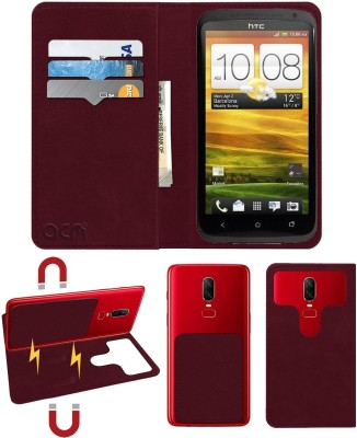 ACM Flip Cover for Htc One X(Maroon, Cases with Holder)