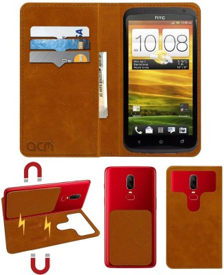 ACM Flip Cover for Htc One X(Gold, Cases with Holder)