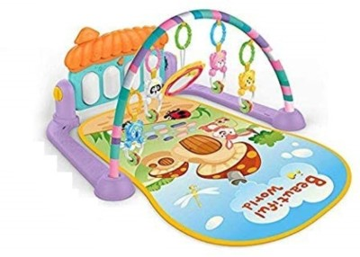 Smartcraft 5 in 1 Home Piano Fitness Rack Gym mat for Kids , Multifunction Gym and Fitness Rack Baby Rattle Infant Soft Music Piano(Multicolor)