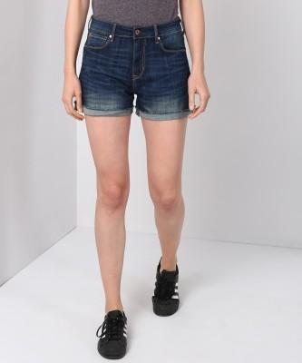Denizen Solid Women Reversible Blue Denim Shorts at flipkart