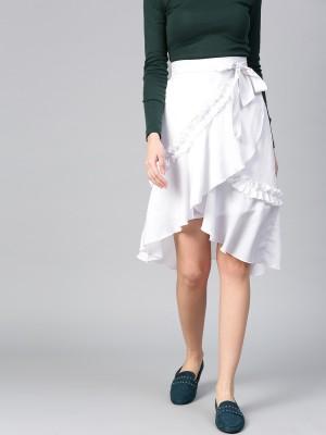 Bitterlime Solid Women A-line White Skirt