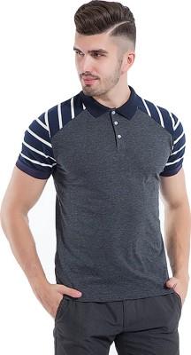 DEW DROPS Striped Men Round Neck Grey, White, Dark Blue T-Shirt