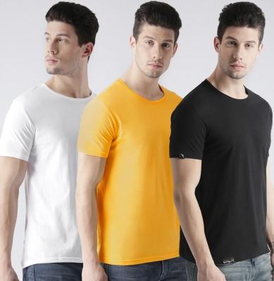 Young Trendz Solid Men Round Neck White, Yellow, Black T-Shirt