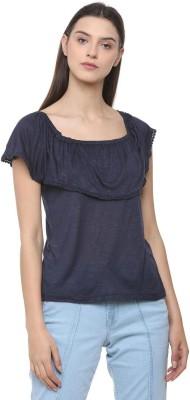 People Casual Cap Sleeve Self Design Women Dark Blue Top
