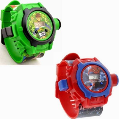 shopprime stylish Beautiful Combo Ben 10 & Spider-Man Projector latest 2019 best gift for children Digital Watch - For Boys & Girls