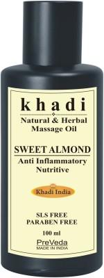 PreVeda Khadi Sweet Almond Oil For Body and Hair|Natural & Pure Best 100% Herbal Oil(100 ml)
