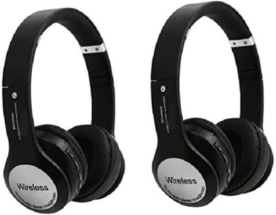mobifox combo Headphones Bluetooth with Mic (Black, Over the Ear) Bluetooth Headset with Mic(Black, Over the Ear)
