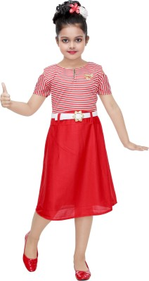 Mojua Girls Midi/Knee Length Party Dress Red, Half Sleeve