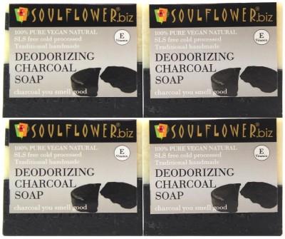 Soulflower Deodorizing Charcoal Soap Set of 4(4 x 150 g)