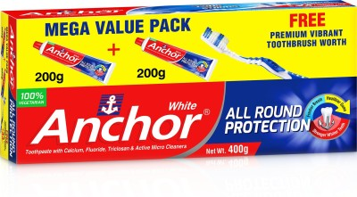ANCHOR WhiteTooth Paste (100% Vegeterian) Toothpaste(400 g)
