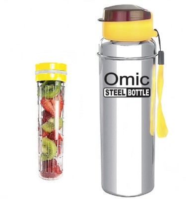 Omic Stainless Steel 1000 ml Bottle Pack of 1, Yellow