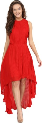 Miss Chase Women High Low Red Dress