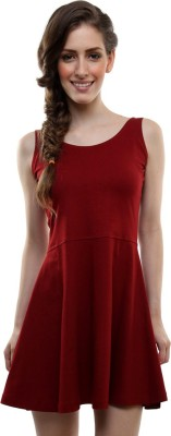 Miss Chase Women A line Maroon Dress