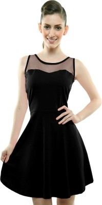Miss Chase Women A-line Black Dress