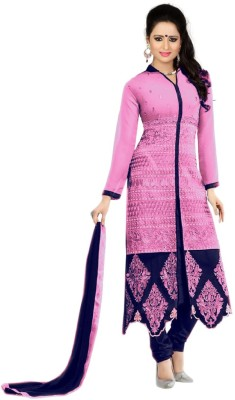 MF Retail Poly Georgette Embroidered Salwar Suit Material(Semi Stitched) at flipkart