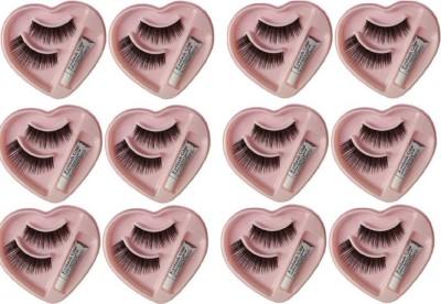 Shopimoz False Fake Eyelashes With Glue Set Pack of 12