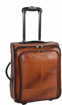 Borse Brown Leather Overnighter Four Wheeler Trolley Bag   Laptop Trolley Bag Small Travel Bag   Small Brown