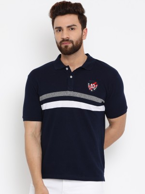 SCATCHITE Striped, Color block, Printed Men Polo Neck White, Grey, Dark Blue T-Shirt(Pack of 2)