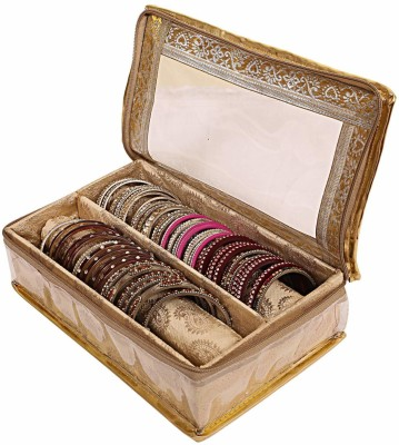 black paper Brocade 2 Rod Bangle Box, 1 Pc Golden Set of Jewellery bangle box Jewellery bangle box 2 Rod Vanity Box(Gold)