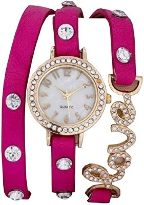ClockRoom CR_92 Unique White Round Dial Pink Genuine Leather Belt Watch  - For Women