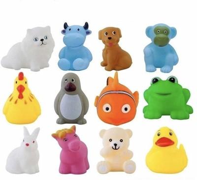 ZZ Zonex 12 Piece Toddler Baby Bathtub Bathing Chu Chu Squeeze Bath Toys Non-Toxic BPA Free, Animal Shape Bath Toy(Multicolor)