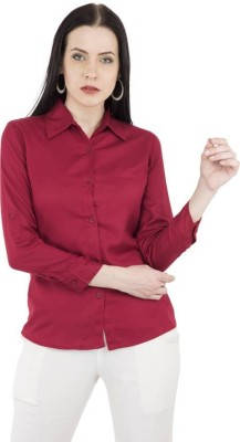 YASMIN CREATIONS Women Solid Formal Maroon Shirt
