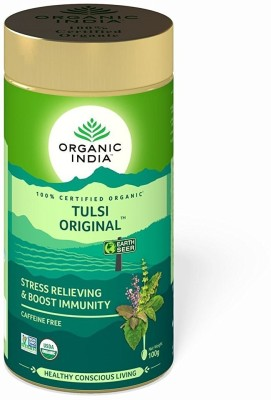 Organic India Tulsi Original 100 GM Tin- ( Pack of 2) Tulsi Herbal Tea Tin(100 g)